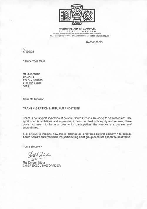 NAC Rejection Letter To DASART And Its Draft, Included As Part Of DASARTu0027s  U0027Transmigrationsu0027 Exhibition Currently At Pretoria Art Museum