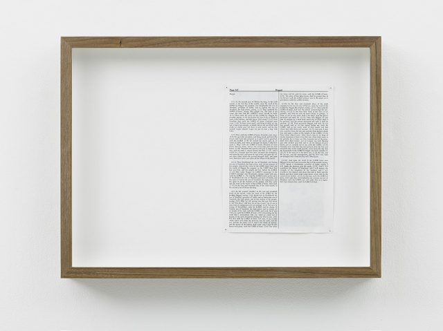 Adam Broomberg & Oliver Chanarin, Haggai, 2013. King James Bible, Hahnemühle print, brass pins, Framed: 34.5 x 45.5 x 5 cm. Edition of 3