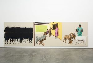 Meleko Mokgosi, <i>Fully Belly II</i>, 2014. Oil and charcoal on canvas, 3 panels: 90 x 114 inches, 90 x 108 inches, 90 x 84 inches. MEM14.001, Jack Shainman Gallery, New York