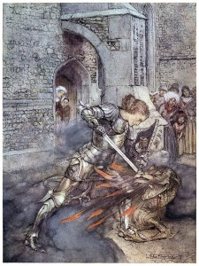 How Sir Lancelot fought with a friendly dragon. Arthur Rackham