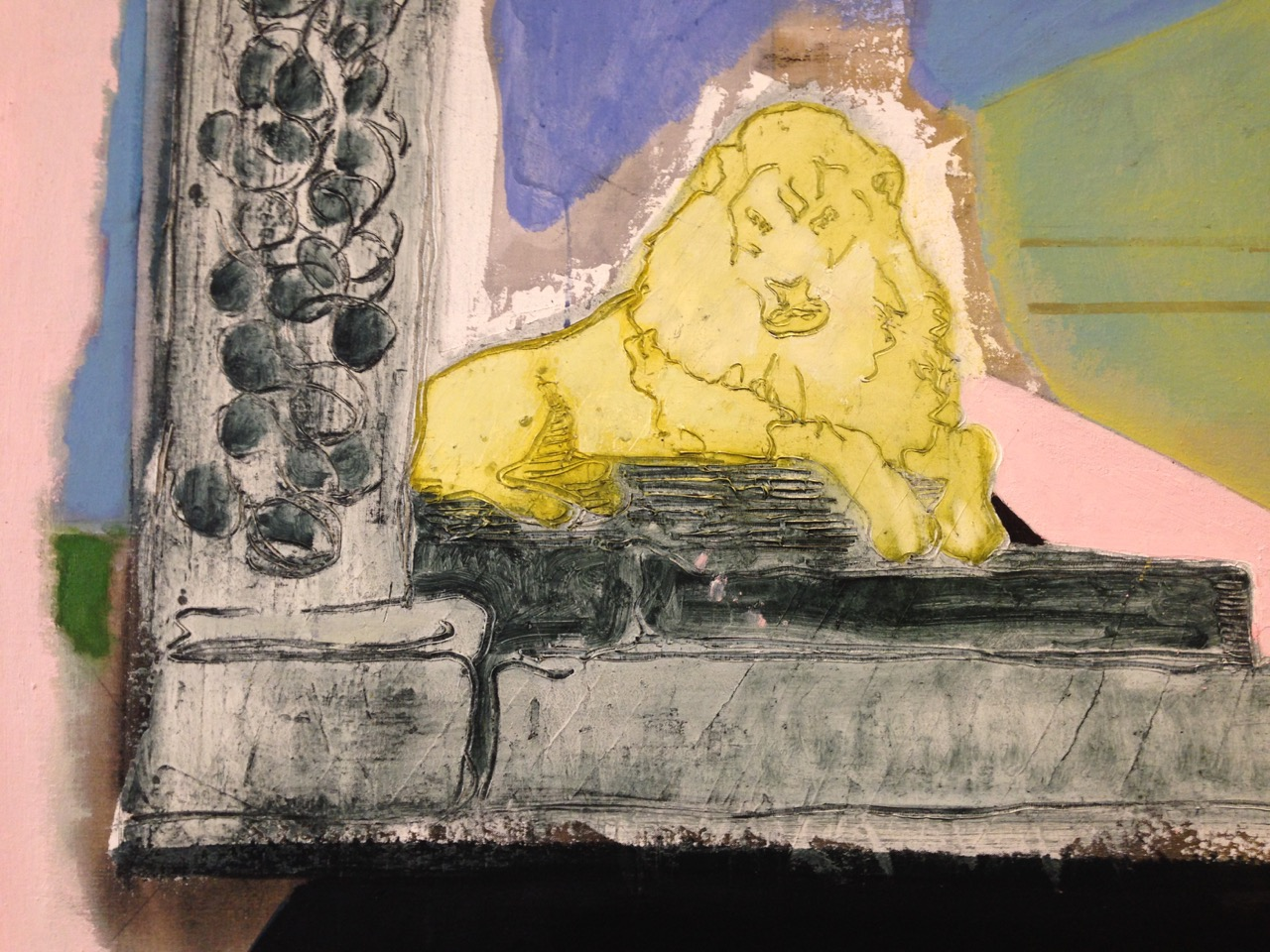 Peter Doig Lion In The Road (Detail) (2015) Oil and distemper on Linen. 200 x 276 cm