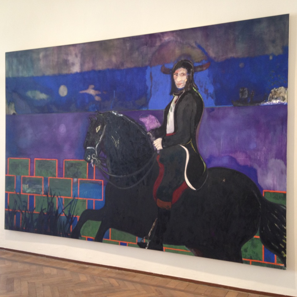 Peter Doig <i>Horse and Rider</i> (2014)   Oil and distemper on canvas  240 x 360 cm