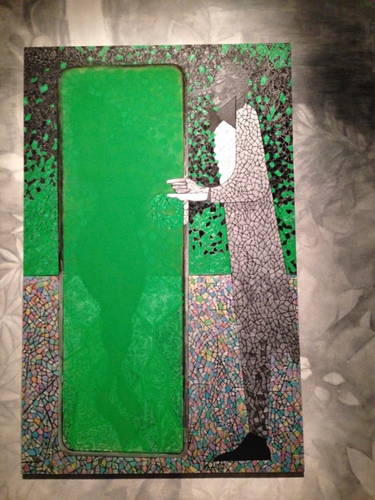 Chris Ofili <i>The Green Mirror</i> (2015), Oil on Linen