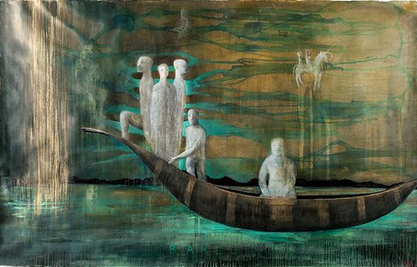 Deborah Bell, Bardo, 2014. Mixed media on paper, 125 x 197 cm.