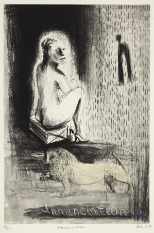 Deborah Bell, Annunciation, 2012 - 2014. Drypoint and etching, edition of 40. 50 x 38 cm.