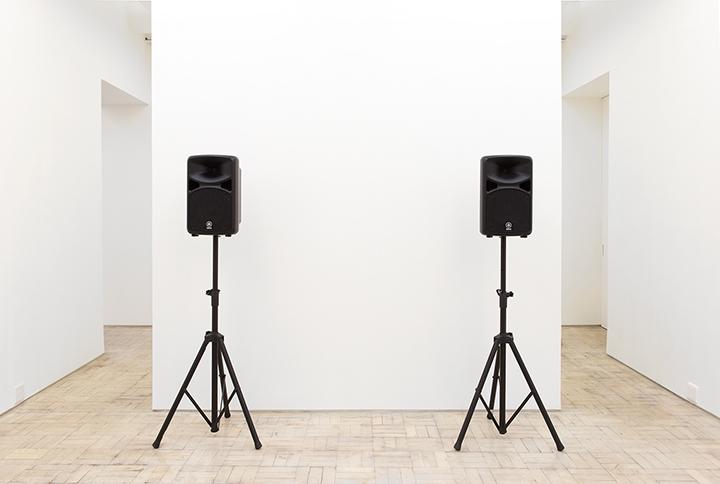 Iman Issa, <i>The Revolutionary</i>, 2010. Audio, speakers, white bench. Duration 5 min 58 sec, Edition of 2