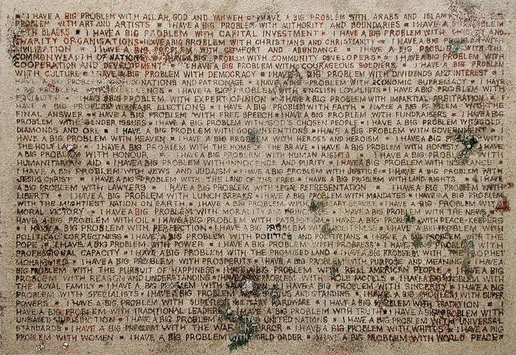 Willem Boshoff, <i>Cacoethes scribendi</i>, 2004. Manure, glue, wood, 300 x 210 cm