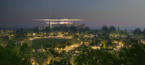 Night view of The Stavros Niarchos Cultural Foundation