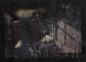 Jessica Webster <i>Sequence 25, (basement & yellow stage)</i>, 2015. Oil paint and encaustic wax on digital canvas 104 x 142cm