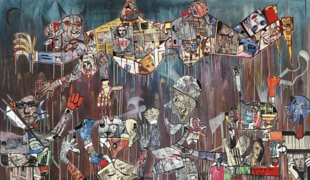 Blessing Ngobeni, Untouchable (politician), 2015. Mixed media on canvas, 174 x 300 cm