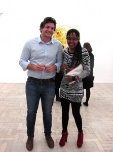 Back in civvies, Buhle poses with Alexander Richards.