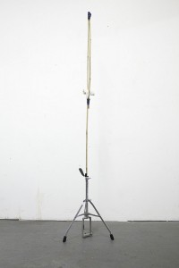 Jared Ginsburg, Studio companion, 2015. Music stand, bamboo, rubber, tape and mutton cloth; 185 x 35 x 30 cm