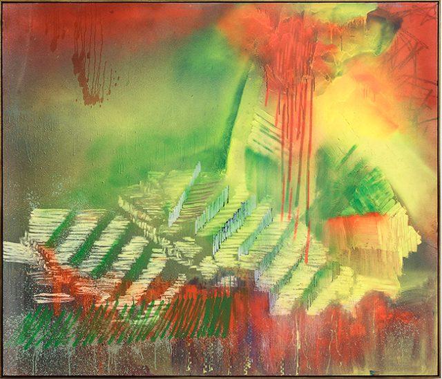 Jan-Henri Booyens, Vigilante love and regret  (2015). Oil and mixed media on canvas, 120 x 150 cm