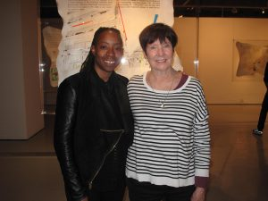 Adejoke Tugbiyele and me in front of one Ade's Perspex encased vellum drawings on her exhibition, 'Testimony'