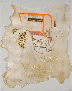 Adejoke Tugbiyele <i>Triple Threat - Woman/Lesbian/Nigerian</i>, 2015. Ink and paint on parchment. 89 x 69cm