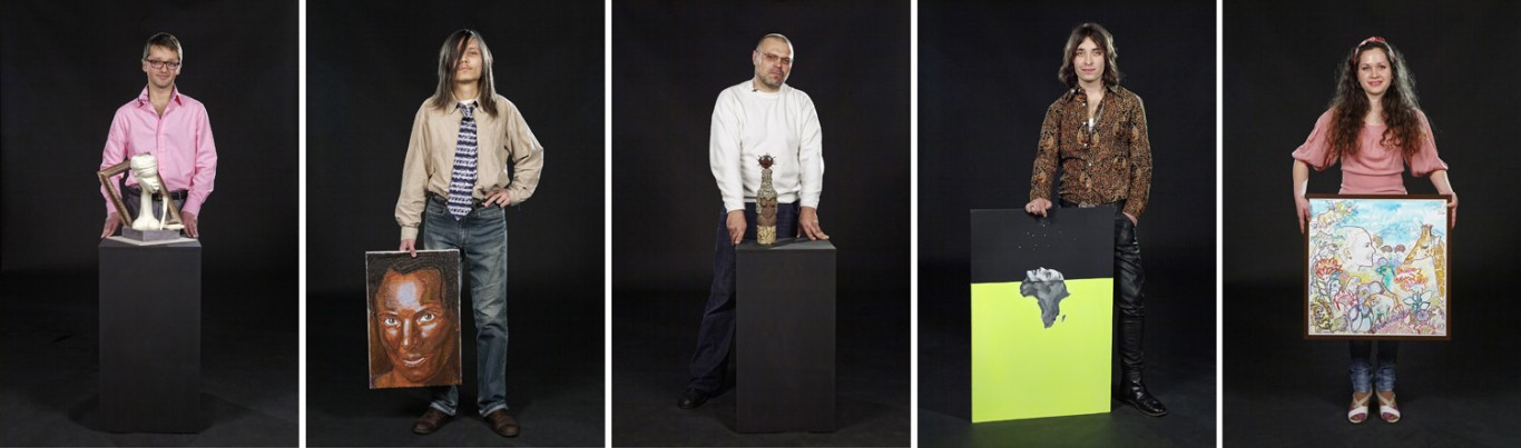 Candice Breitz, <i>Portrait of an Artist #19, #68, #193, #45, #84</i>, 2011. Digital print on photo rag baryta paper, 36 x 24cm (each). Co-produced by PinchukArtCentre, Courtesy of Goodman Gallery