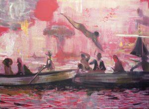 Kate Gottgens <i>Sea Ablaze</i>, 2015. Oil on Canvas, 130 x 220 cm