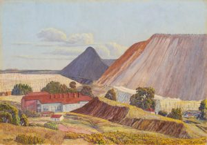 Moses Tladi, <i>No 1 Crown Mines</i>, Mid 1920s. Oil on canvas board