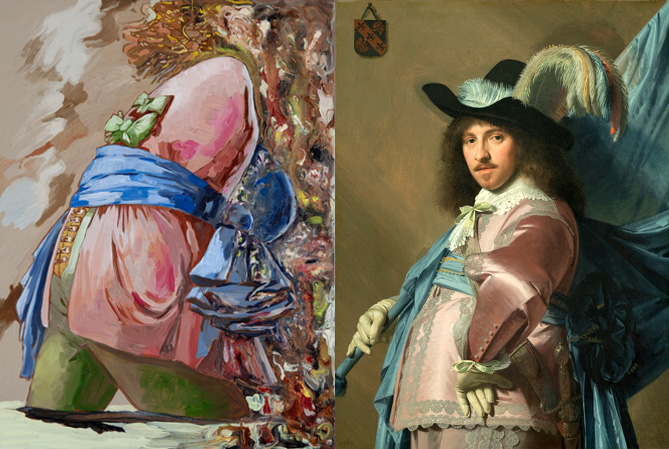 (Left) Lizza Littlewort, The Custodian of History, 2015. (Right) Johannes Cornelisz Verspronck,Portrait of Andries Stilte as a standard bearer, 1640–1640