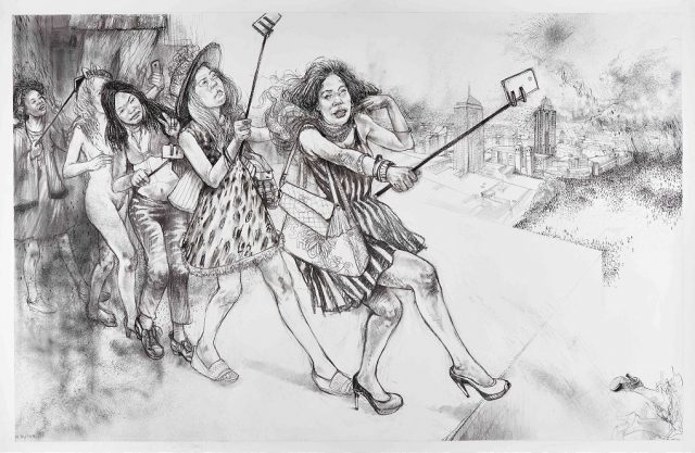 Diane Victor The parable of the selfie and the self-perpetuating problem, 2015. Charcoal, pastel and ash on paper 100 x 151cm
