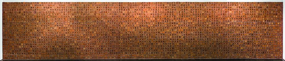 Willem Boshoff <i>Word Woes</i> 2015. Hand-cast bricks. 1490 x 300 cm
