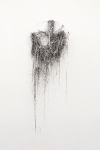Igshaan Adams <i>La</i>, 2013. Steel ring, string curtain and acrylic glue, 168 × 59 × 35 cm
