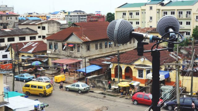 Emeka Ogboh, Recording in Yaba, Lagos. Photo by Emeka Ogboh, courtesy of The Armory Show