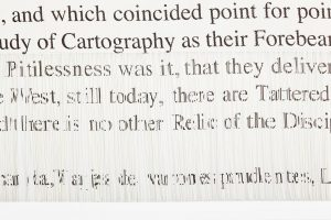 Dan Halter <i>On Exactitude in Science</i> 2015. Hand-woven archival ink-jet print. 89 x 317 cm