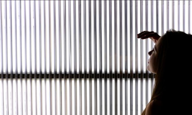 Alfredo Jaar, The Sound of Silence, 2006, Wood structure, aluminum, fluorescent tubes, LED lights, flash lights, tripods, video projection. Software design by Ravi Rajan Installation views at École des Beaux Arts, Paris, 2011