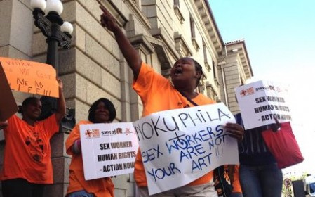 SWEAT protestors at the beginning of the trial in 2014 Picture: Aletta Harrison/EWN.