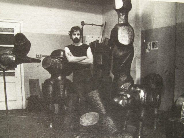 David Brown in his studio (c.1981) while working on 'Dogs of War'