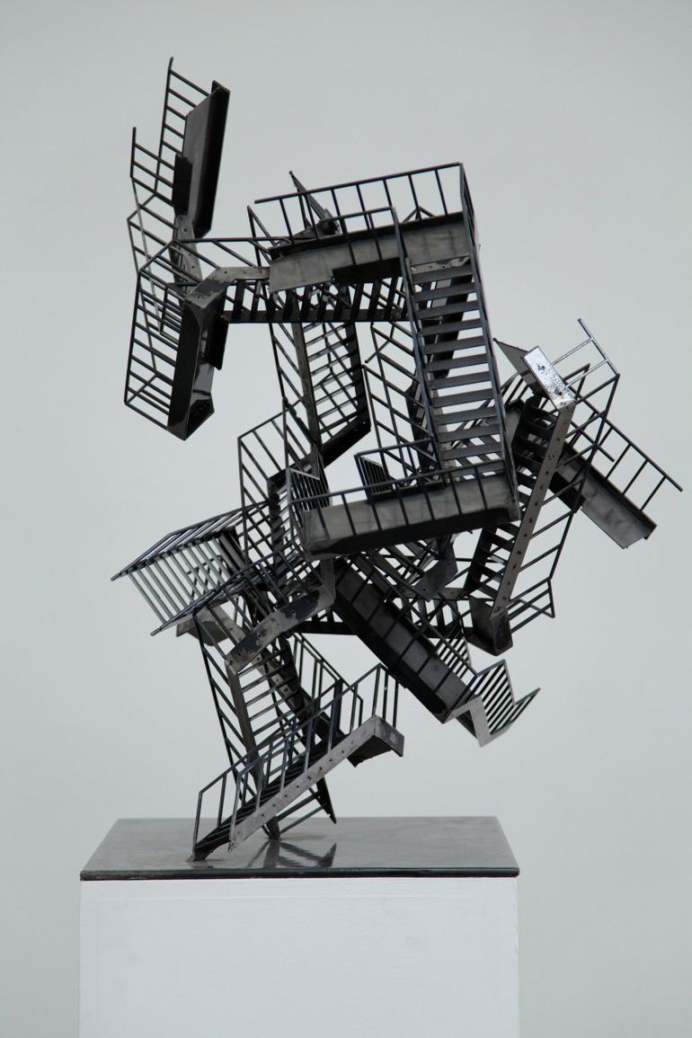 Jake Singer, Escalation Incident with Dissonance, 2015. Powder coated mild steel, felt, 45 x 55 x 80cm