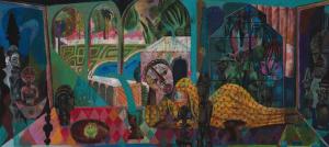 Olaf Hajek <i>The Big Collector</i>, 2016. Acrylic and oil pastel on board, 80 x 180cm.