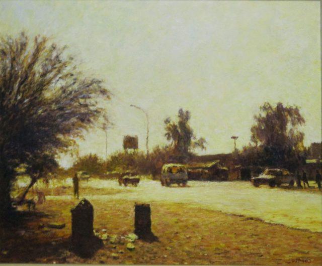 Walter Meyer Tsabong Street Scene, 2003. Oil on canvas