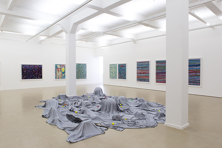 Moshekwa Langa, <i>Veiled Landscape</i> (2010-2016). <br /> Fabric, game balls and boxes, dimensions variable