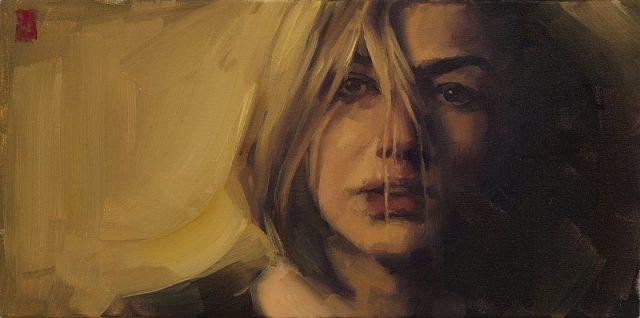 Sasha Hartslief, Blonde Girl (2016). Oil on canvas, 25 x 51 cm