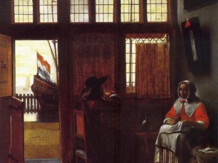 Pieter De Hooch Interior, Looking Out on Water, c1668. Oil on panel