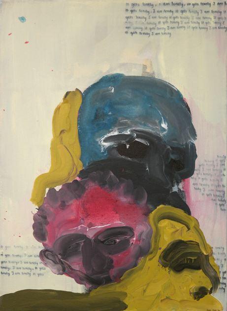 Banele Khoza Lonely pair, 2016. Acrylic on Canvas
