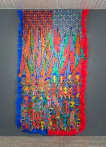 Siwa Mgoboza The Awakening of Africadia, 2016. Isishweshwe fabric, tule, thread and beads