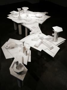 Kendall Buster model-city (constraint), 2014-2016. Foam core, cardboard, glue, paper