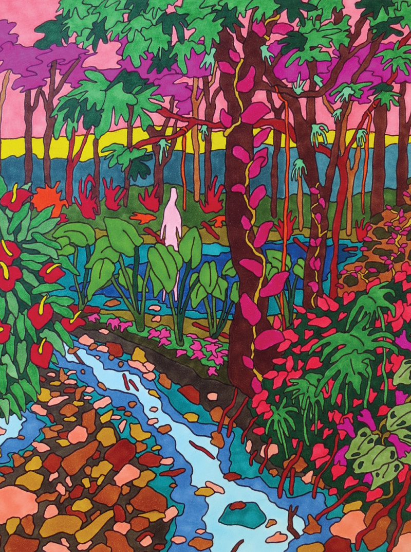 Olivié Keck, The Forest Of Many Mothers, 2016. Copic-Marker & Sharpies on Arches, 25 x 19 cm.