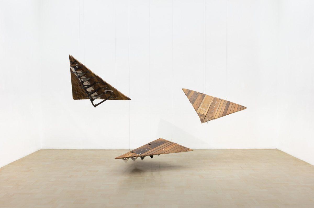 Kemang Wa Lehulere, X, Y, Z, 2016. Salvaged school desks, steel, Dimensions variable.