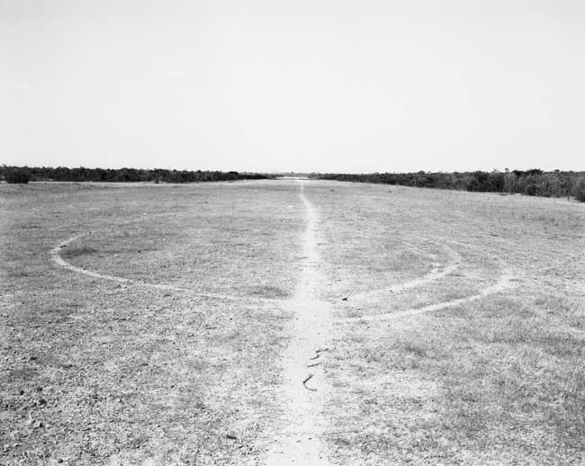 Jo Ractliffe Runway with helipad at Longa, 2009. Hand-printed silver gelatin print