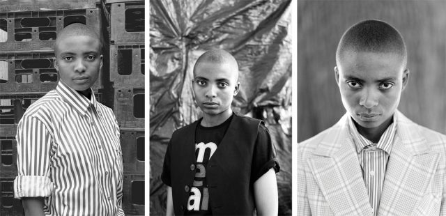 (left) Zanele Muholi, Lerato Dumse, KwaThema, Springs, Johannesburg, 2010. (center) Zanele Muholi, Lerato Dumse, Parktown, Johannesburg, 2013. (right) Zanele Muholi, Lerato Dumse, Syracuse, New York Upstate, 2015.