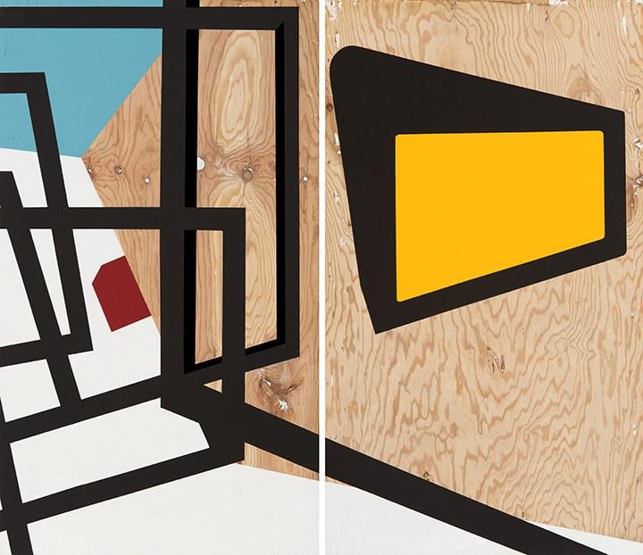 Serge Alain Nitegeka, Field Configuration I,2015. Diptych, Paint on wood