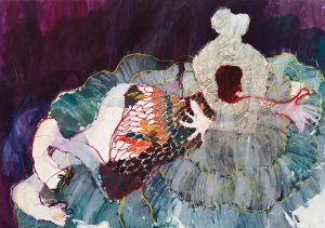 Portia Zvavahera <i>I Can Feel It in My Eyes (26)</i>, 2015. Oil-based printing ink and oil bar on canvas