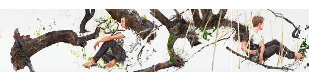 Deborah Poynton Luncheon on the Grass, 2016. Quadriptych. Oil on canvas