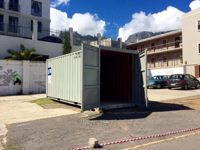 The Open Dialog Box container in its temporary home on Buitenkant Street, Cape Town