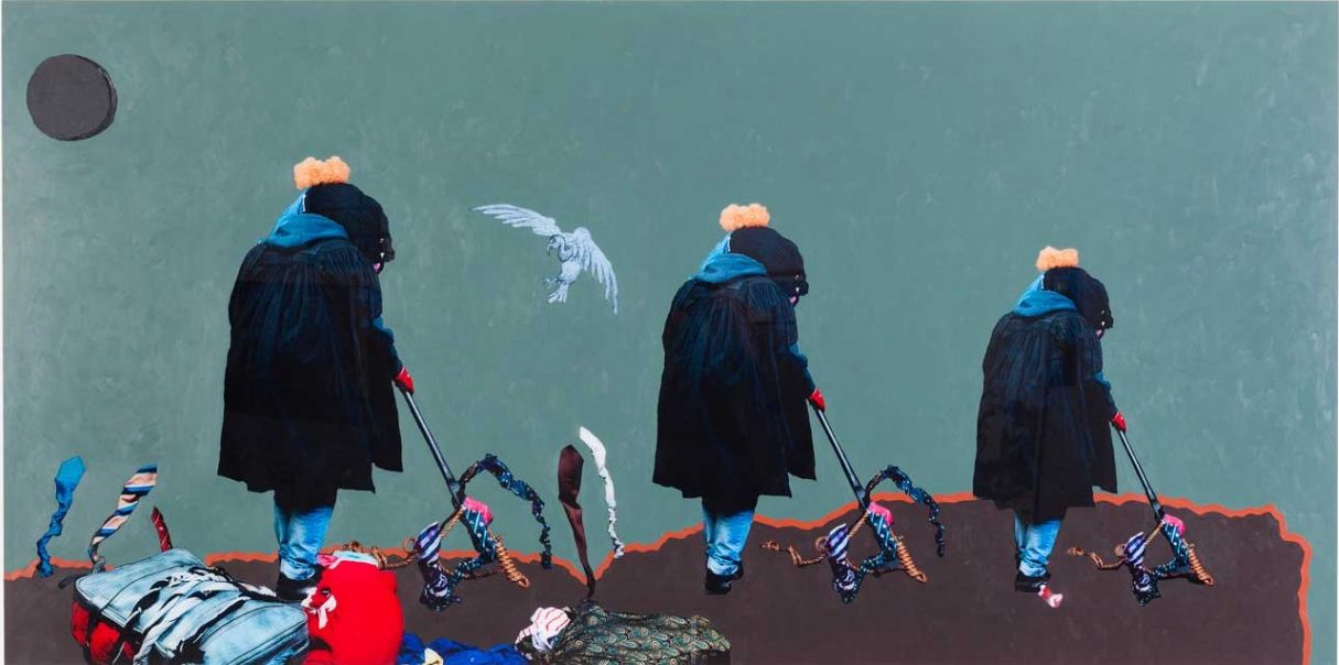 Simphiwe Ndzube, Inevitable Journey to Mars III, 2016. Acrylic paint on perspex print, 120 x 240 cm