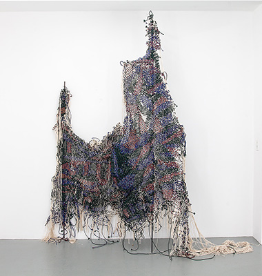 Igshaan Adams ( in collaboration with Kyle Morland), Standpunt, 2016. Woven nylon rope, string and mild steel; approx. 245 x 230 x 60 cm